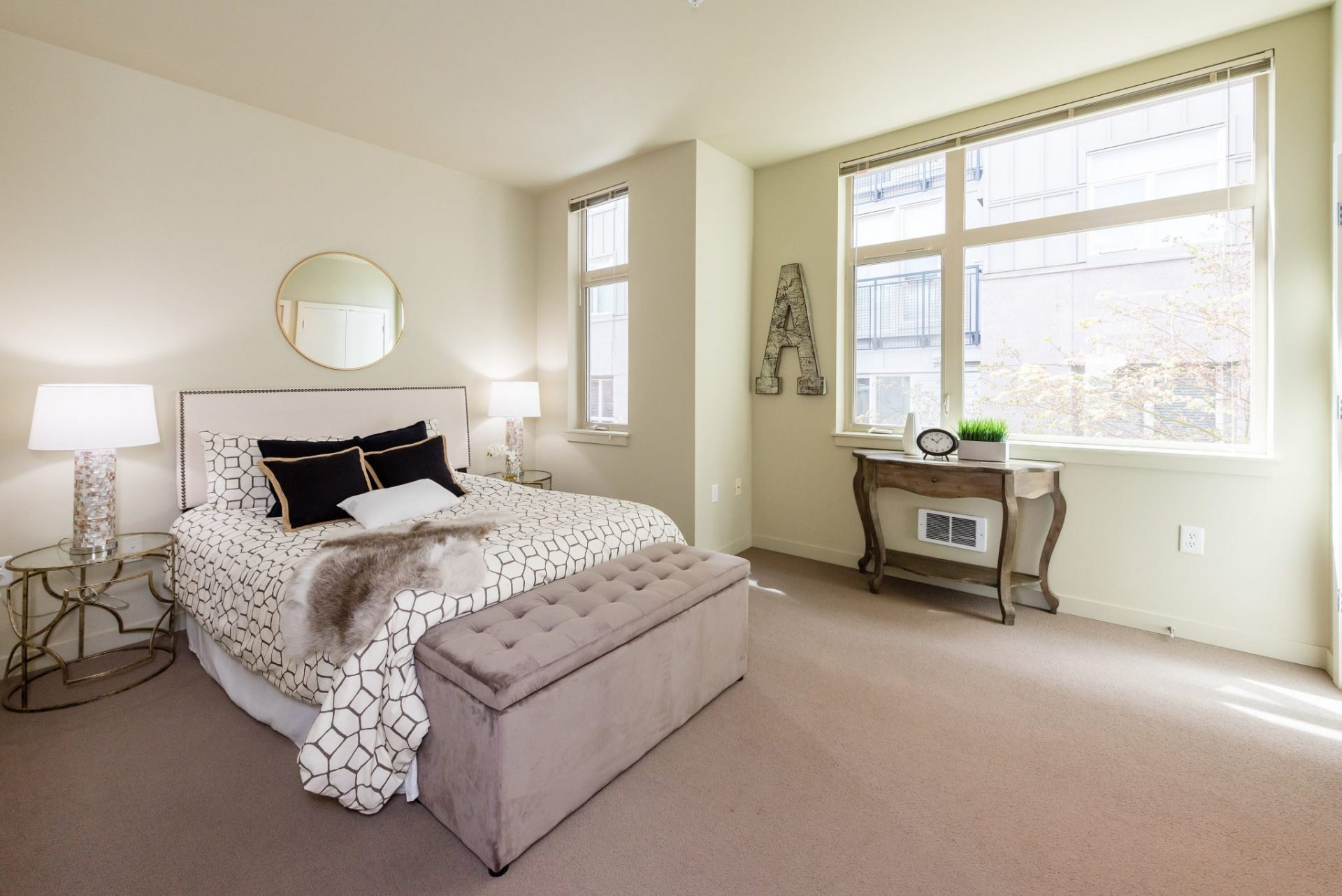 Spacious Bedroom With Ample Natural Lighting At Thornton Place Apartments In Seattle, WA