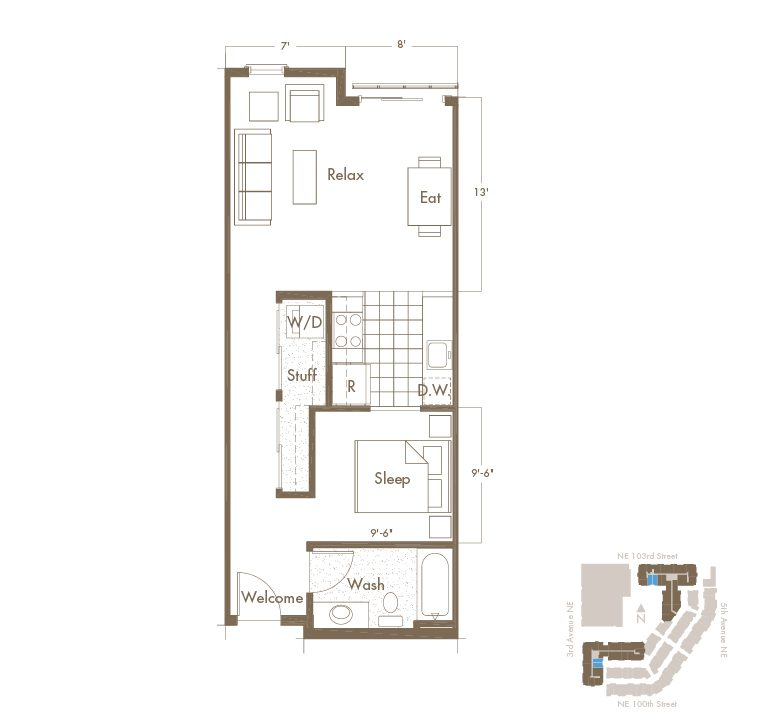 Studio & 1 Bathroom Apartment Floor Plan At Thornton Place Apartments In Seattle, WA