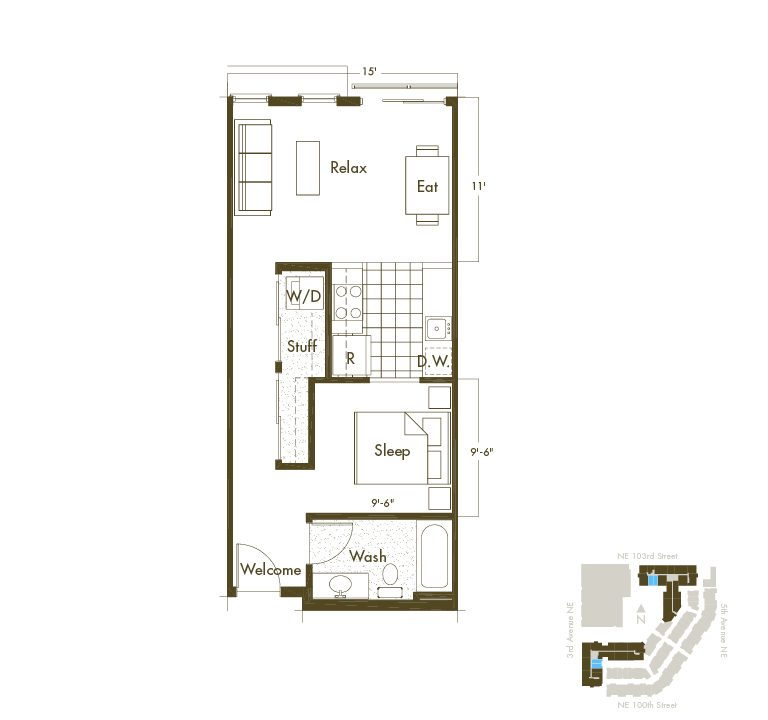 Studio & 1 Bathroom Apartment Layout At Thornton Place Apartments In Seattle, WA