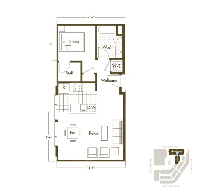 Thornton Place Apartments In Seattle, WA Studio & 1 Bathroom Apartment Floor Plan