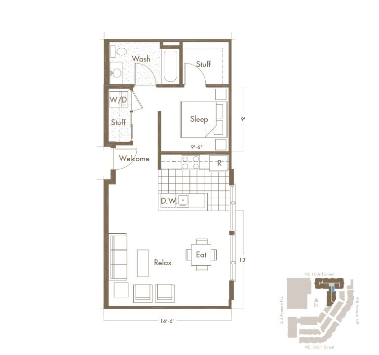 Thornton Place Apartments In Seattle, WA Studio & 1 Bathroom Apartment Layout