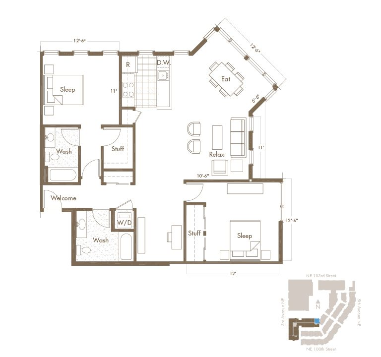 2 Bedroom & 2 Bathroom Apartment Layout At Thornton Place Apartments In Seattle, WA