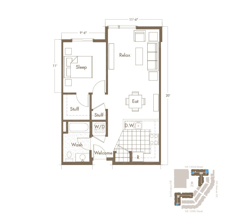 Thornton Place Apartments In Seattle, WA 1 Bedroom & 1 Bathroom Apartment Floor Plan