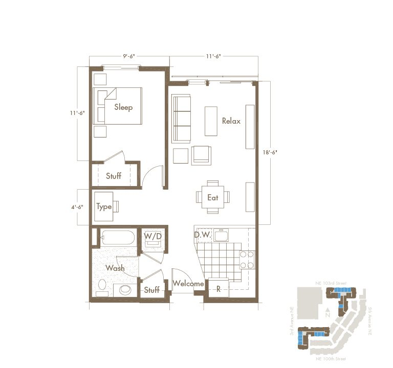 1 Bedroom & 1 Bathroom Apartment Floor Plan At Thornton Place Apartments In Seattle, WA