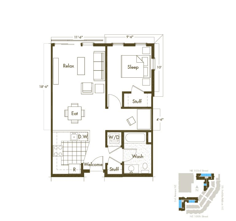 1 Bedroom & 1 Bathroom Apartment Layout At Thornton Place Apartments In Seattle, WA