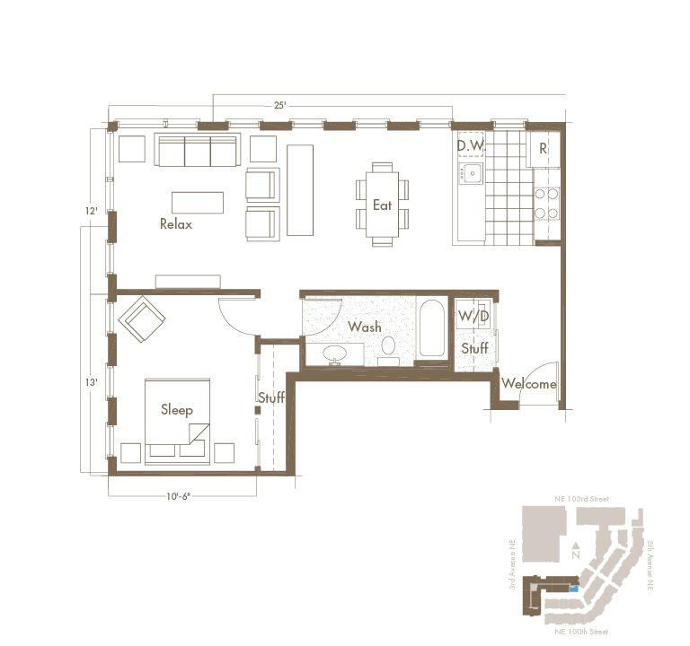 Thornton Place Apartments In Seattle, WA 1 Bedroom & 1 Bathroom Apartment Layout