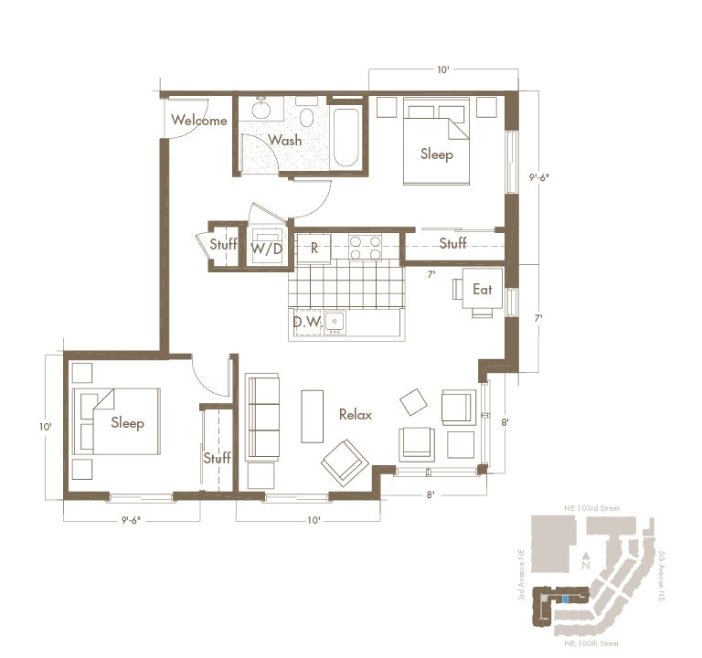 2 Bedroom & 2 Bathroom Apartment Floor Plan At Thornton Place Apartments In Seattle, WA