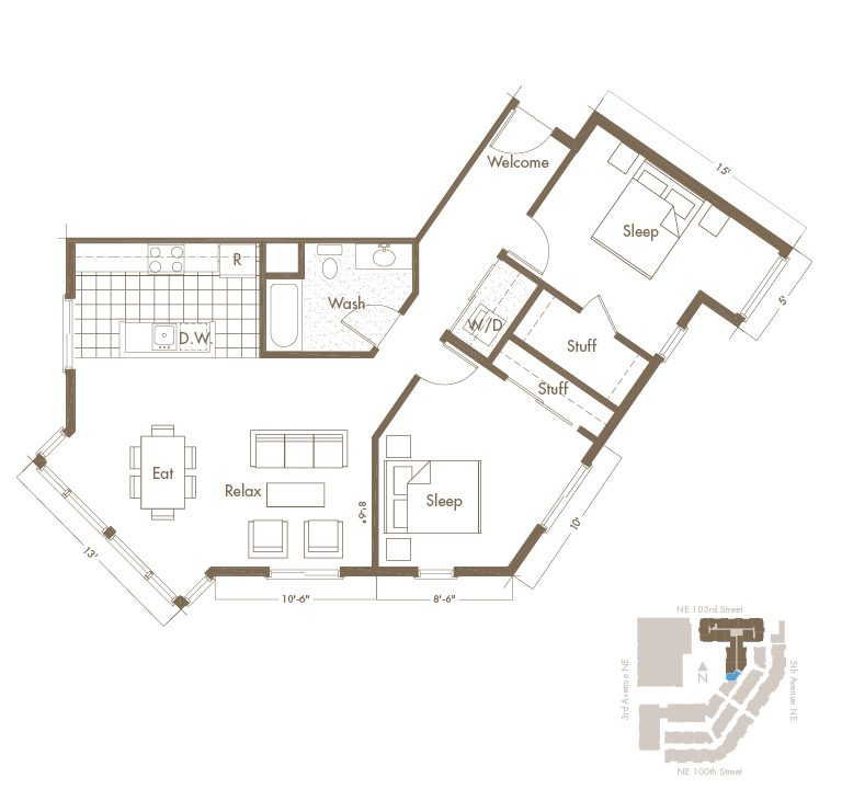 Thornton Place Apartments In Seattle, WA 2 Bedroom & 2 Bathroom Apartment Layout