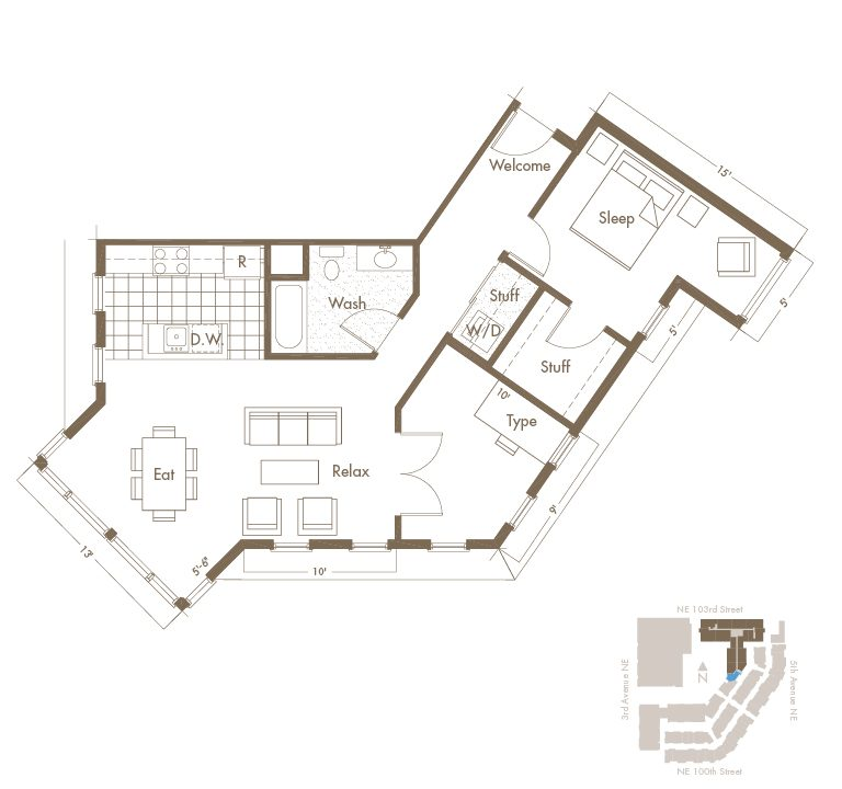 Thornton Place Apartments In Seattle, WA 1 Bedroom + Den & 1 Bathroom Apartment Layout