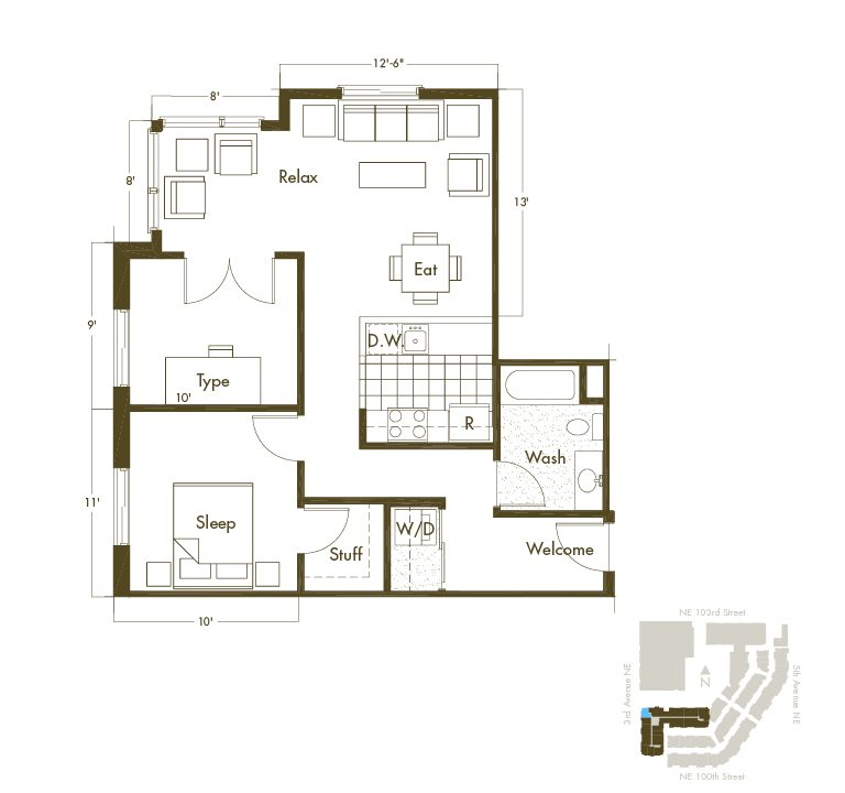 1 Bedroom + Den & 1 Bathroom Apartment Layout At Thornton Place Apartments In Seattle, WA