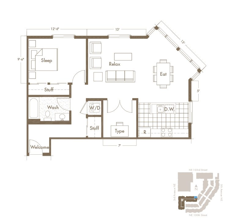 Thornton Place Apartments In Seattle, WA 1 Bedroom + Den & 1 Bathroom Apartment Floor Plan