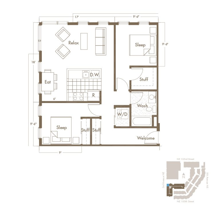 2 Bedroom & 1 Bathroom Apartment Floor Plan At Thornton Place Apartments In Seattle, WA