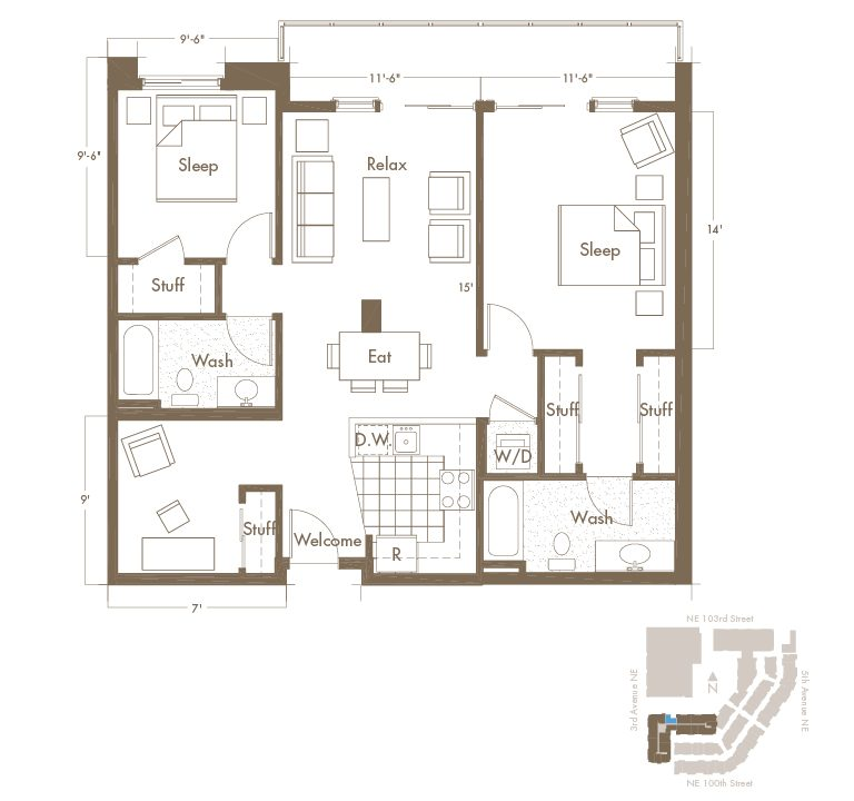 Thornton Place Apartments In Seattle, WA 2 Bedroom + Den & 2 Bathroom Apartment Layout