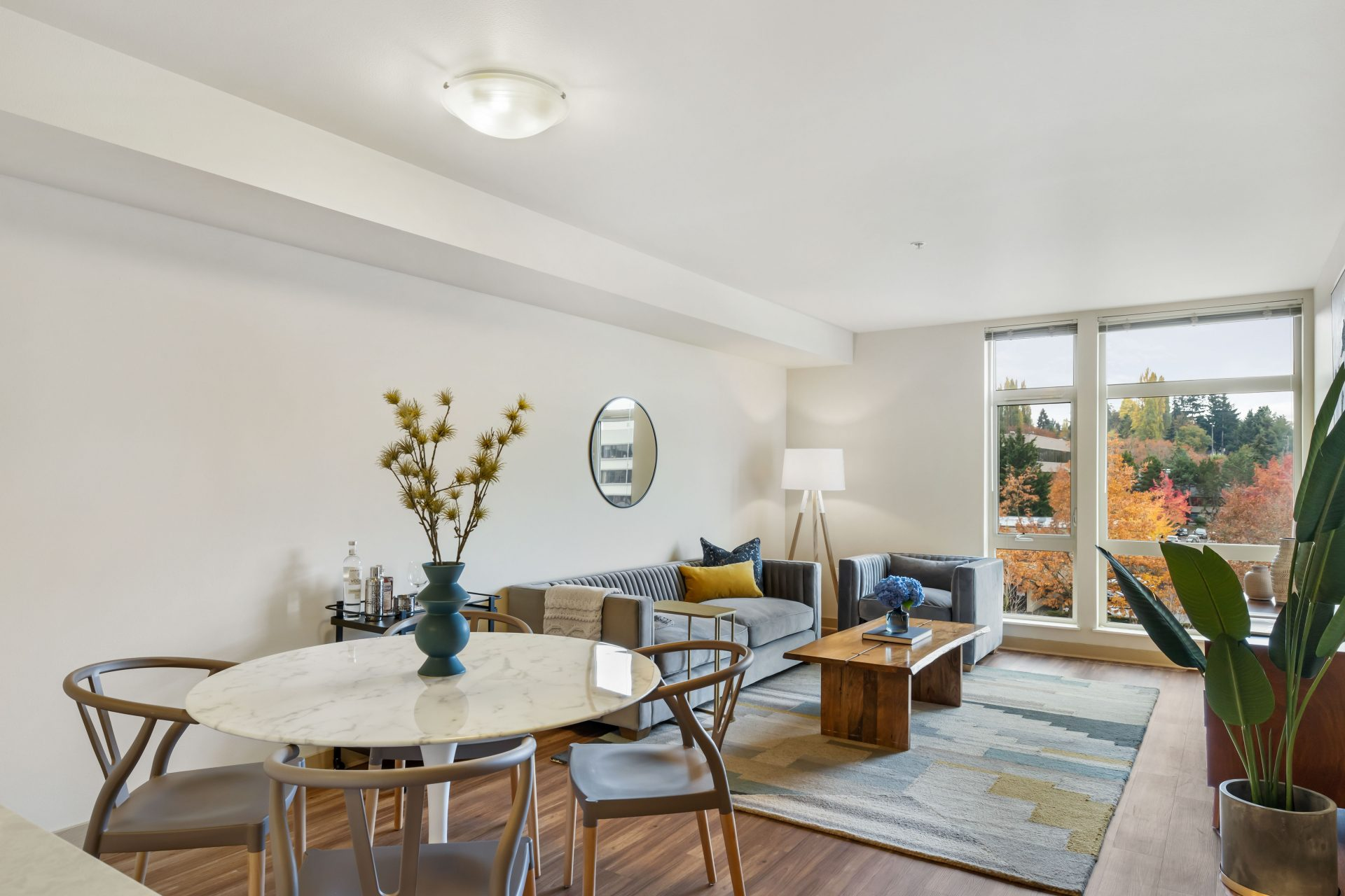 bright and open living space at Thornton Place in Seattle
